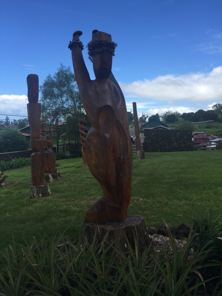 I loved these beautiful wood sculptures along the walkway!