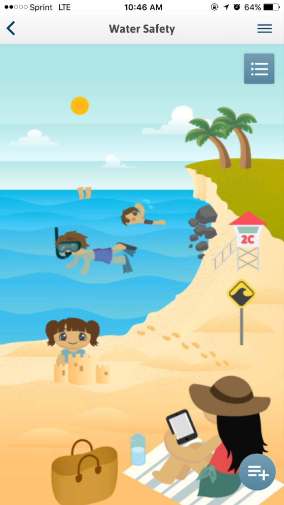 Interact with this fun scene to learn important water safety tips!